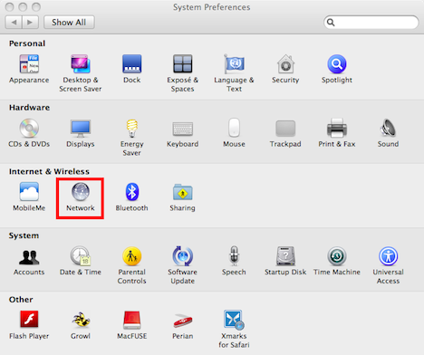 Network icon in the System Preferences