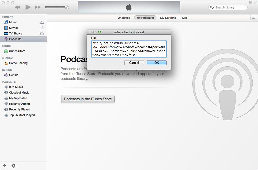 Paste in iTunes